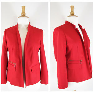 Chicos Solid Red Open Front Blazer Suit Jacket